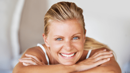 Happy, relaxed woman with a healthy smile