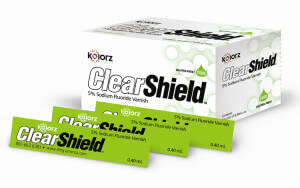 Box of Clearshield topical fluoride varnish